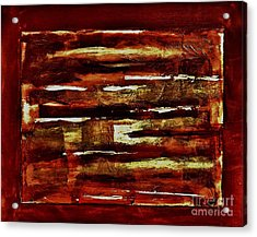 Brown Red And Golds Abstract Acrylic Print by Marsha Heiken