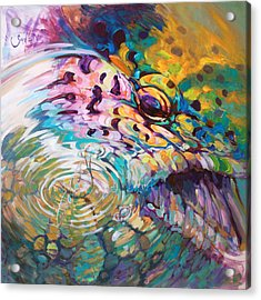 Brown Trout And Mayfly - Abstract Fly Fishing Art  Acrylic Print by Savlen Art