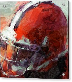Browns Art Helmet Abstract Acrylic Print by David G Paul