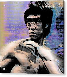 Bruce Lee And Quotes Square Acrylic Print by Tony Rubino