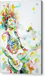 Bruce Springsteen Playing The Guitar Watercolor Portrait.2 Acrylic Print by Fabrizio Cassetta