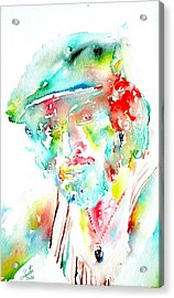 Bruce Springsteen Watercolor Portrait Acrylic Print by Fabrizio Cassetta