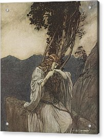 Brunnhilde Kisses The Ring That Siegfried Has Left With Her Acrylic Print by Arthur Rackham