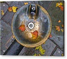 Bryant Park Fountain In Autumn Acrylic Print by Gary Slawsky
