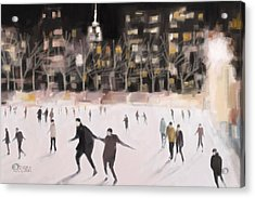 Bryant Park Ice Skaters New York At Night Acrylic Print by Beverly Brown