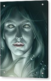 Bubble Mermaid Acrylic Print by Bernadett Kovacs