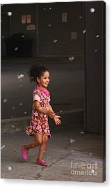 Bubbles Make The Happiest Moments Acrylic Print by Aimelle