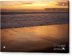 Bubbles On The Sand With Ventura Pier  Acrylic Print by Ian Donley