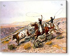 Buccaroos Acrylic Print by Charles Russell