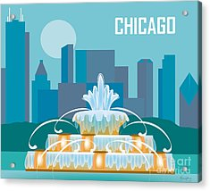 Buckingham Fountain Chicago Acrylic Print by Karen Young