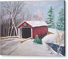 Bucks County Covered Bridge Acrylic Print by Lucia Grilletto