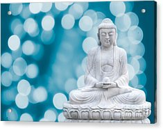 Buddha Enlightenment Blue Acrylic Print by Hannes Cmarits