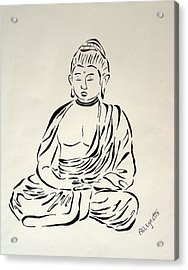 Buddha In Black And White Acrylic Print by Pamela Allegretto