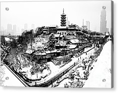 Buddha - Jiming Temple In The Snow - Black-and-white Version  Acrylic Print by Dean Harte