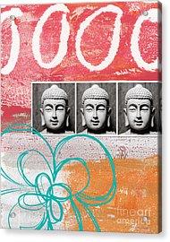 Buddha With Flower Acrylic Print by Linda Woods