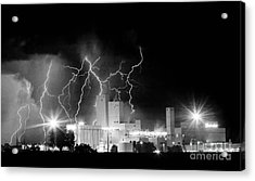 Budweiser Lightning Thunderstorm Moving Out Bw Pano Acrylic Print by James BO  Insogna