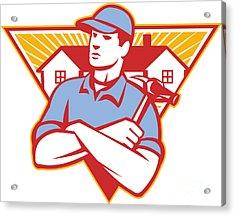 Builder Construction Worker Hammer House Acrylic Print by Aloysius Patrimonio