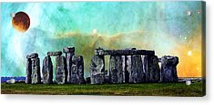 Building A Mystery 2 - Stonehenge Art By Sharon Cummings Acrylic Print by Sharon Cummings