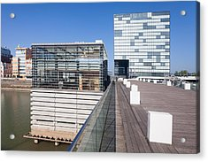 Buildings At A Harbor, Cubana Acrylic Print by Panoramic Images