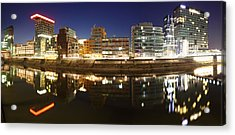 Buildings Lit Up At Dusk, Colorium Acrylic Print by Panoramic Images