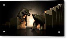 Bull And Bear Market Statues Acrylic Print by Allan Swart
