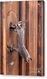 Bull Door Knocker San Cristobal Mexico Acrylic Print by Linda Queally