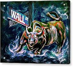Bull Market Night Acrylic Print by Teshia Art