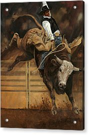 Bull Riding 1 Acrylic Print by Don  Langeneckert