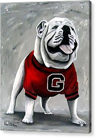 University Of Georgia Bulldog Painting - Damn Good Dawg Acrylic Print by Katie Phillips