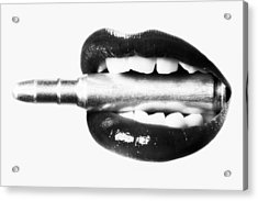 Bullet Lips Bw Acrylic Print by Erik Brede