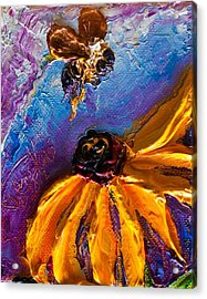 Bumble Bee And Yellow Flower II Acrylic Print by Paris Wyatt Llanso