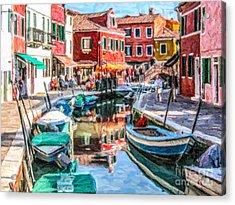 Burano Canal Venice Italy Acrylic Print by Liz Leyden
