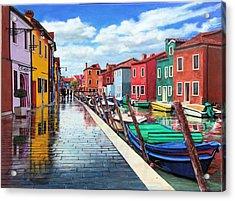 Burano War Of Colors Acrylic Print by Richard Barone