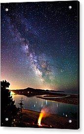 Burning The Milky Way Acrylic Print by Darren  White