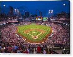 Busch Stadium St. Louis Cardinals Night Game Acrylic Print by David Haskett