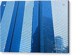 Business Skyscrapers Modern Architecture In Blue Tint Acrylic Print by Michal Bednarek