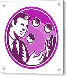 Businessman Juggler Juggling Balls Retro Acrylic Print by Aloysius Patrimonio