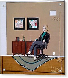 Businesswoman Sitting In Chair Acrylic Print by John Lyes