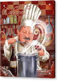 Busy Chef With Cabernet Acrylic Print by Shari Warren