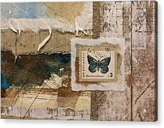 Butterfly And Blue Collage Acrylic Print by Carol Leigh