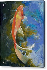Butterfly Koi Painting Acrylic Print by Michael Creese