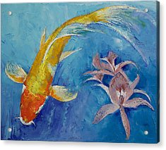 Butterfly Koi With Orchids Acrylic Print by Michael Creese