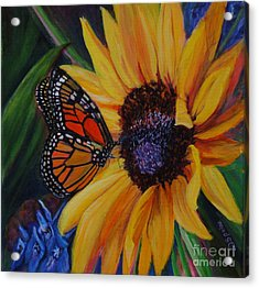 Butterfly On Sunflower Acrylic Print by Diane Speirs