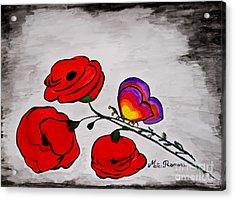 Butterfly Poppies Acrylic Print by Ramona Matei