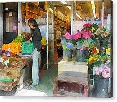 Buying Fresh Fruit Acrylic Print by Susan Savad