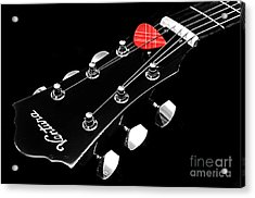 Bw Head Stock With Red Pick  Acrylic Print by Andee Design