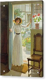 By The Cottage Door Acrylic Print by William Henry Margetson