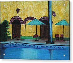 By The Poolside Acrylic Print by Jeanne Fischer