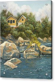 By The River Acrylic Print by Lucie Bilodeau