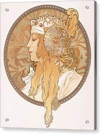 Byzantine Head Of A Blond Maiden Acrylic Print by Alphonse Marie Mucha